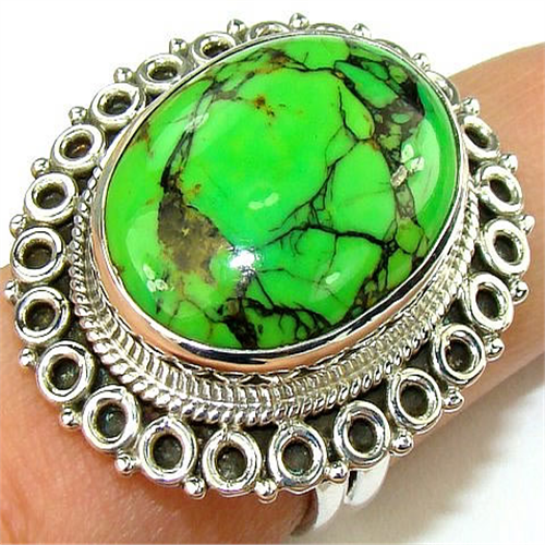 green turquoise sterling silver ring silver gemstone ring