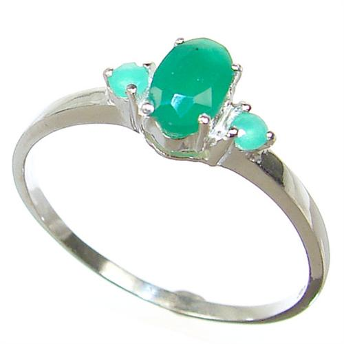 created emerald sterling silver ring size r 4 03 p