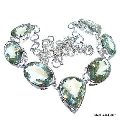 Chunky Green Amethyst Sterling Silver Necklace 15 Inches