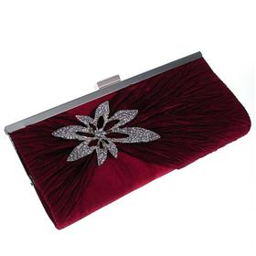 Medium Sized Satin Clutch Bag with Long Chain