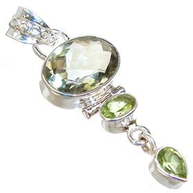 Green Amethyst Sterling Silver Pendant