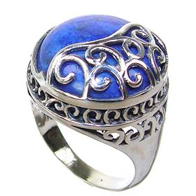Large Lapis Lazuli Sterling Silver Ring size Q