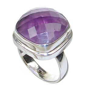 Delightful Amethyst Sterling Silver Ring size N 1/2