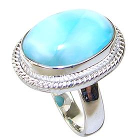 Stunning Larimar Sterling Silver Ring size L 1/2