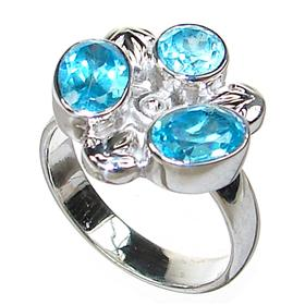 Blue Topaz Sterling Silver Ring size L 1/2