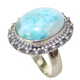 Stunning Larimar Sterling Silver Ring size O 1/2