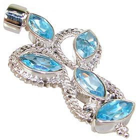 Large Blue Topaz Sterling Silver Pendant