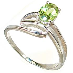 Fancy Royal Peridot Sterling Silver Ring size R 1/2