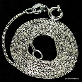 Fancy Box Sterling Silver Chain 18 inches long