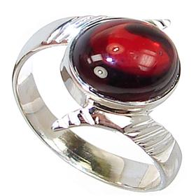 Royal Garnet Sterling Silver Ring Size Q 1/2
