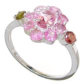 Colorful Tourmaline Sterling Silver Ring size P 1/2