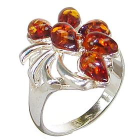Honey Amber Sterling Silver Gemstone Ring size N 1/2