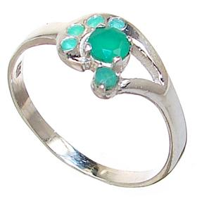 Created Emerald Sterling Silver Ring size R 1/2