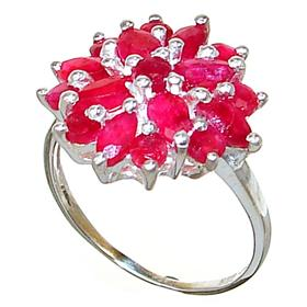 Created Ruby Sterling Silver Ring size O