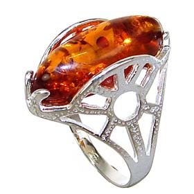 Polish Baltic Amber Sterling Silver Ring size L 1/2