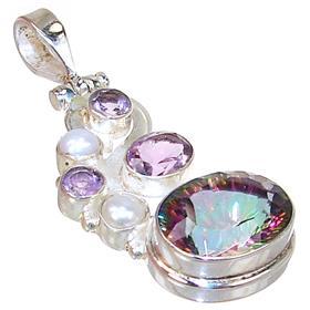 Large mystic quartz sterling silver pendant 14510v silver island uk large mystic quartz sterling silver pendant aloadofball Image collections