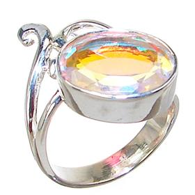 Madagascar Fire Quartz Sterling Silver Ring size N