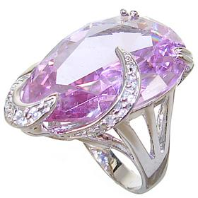 Chunky Purple Quartz Sterling Silver Ring size N 1/2
