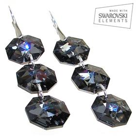 Large Swarovski Silver Night Sterling Silver Earrings