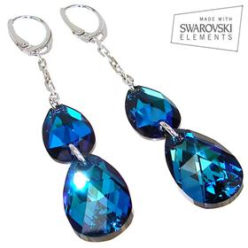 Long Swarovski Bermuda Blue Sterling Silver Earrings