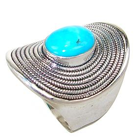 Chunky Turquoise Sterling Silver Ring size R 1/2