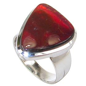 Very Rare Ammolite Sterling Silver Ring size O 1/2