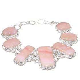 Chunky Pink Opal Sterling Silver Bracelet