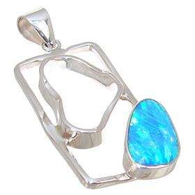 Designer Created Fire Opal Sterling Silver Pendant
