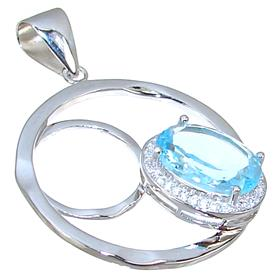 Gallant Blue Topaz Sterling Silver Pendant