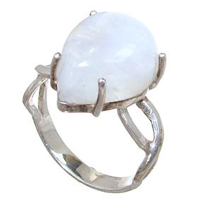 Solid Moonstone Sterling Silver Ring size P 1/2