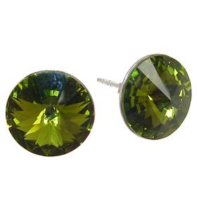 Swarovski Olive Green Sterling Silver Earrings Stud