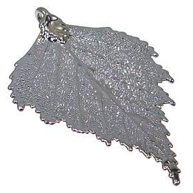 Large Unique Real Leaf Dipped in Rhodium Pendant