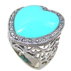 Large Created Turquoise Sterling Silver Ring Size R