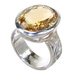Chunky Citrine Sterling Silver Ring size P