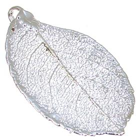 Large Unique Real Leaf Dipped in Sterling Silver Pendant