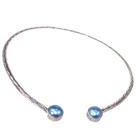 Solid Mother of Pearl Torc Collar Sterling Silver Necklace