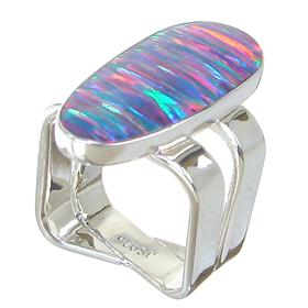 Solid Designer Created Fire Opal Sterling Silver Ring Size Q