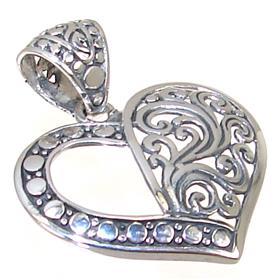Fancy Heart Sterling Silver Pendant