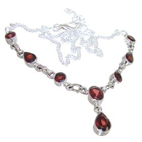 Amazing Garnet Sterling Silver Necklace 17 inches long