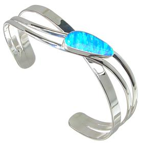 Designer Created Fire Opal Sterling Silver Bracelet Bangle