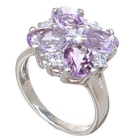 Fancy Amethyst Sterling Silver Ring size M