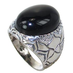 Black Onyx Sterling Silver Ring size M