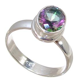 Mystic Quartz Sterling Silver Ring Jewellery size P 1/2
