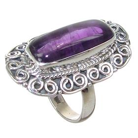 Chunky Amethyst Sterling Silver Ring size R