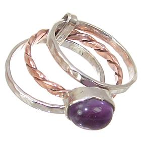 3 in 1 Amethyst Sterling Silver Ring size P 1/2