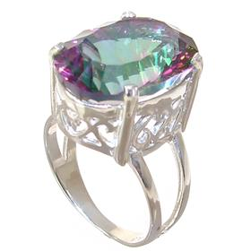 Mystic Quartz Sterling Silver Ring Jewellery size P