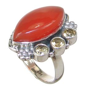 Carnelian Agate Sterling Silver Ring size R