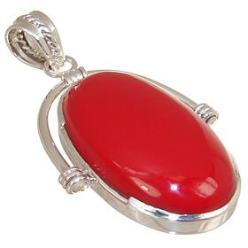 Chunky Red Coral Sterling Silver Pendant