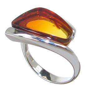Baltic Amber Sterling Silver Ring size J 1/2