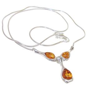 Baltic Amber Sterling Silver Necklace 18 inches long